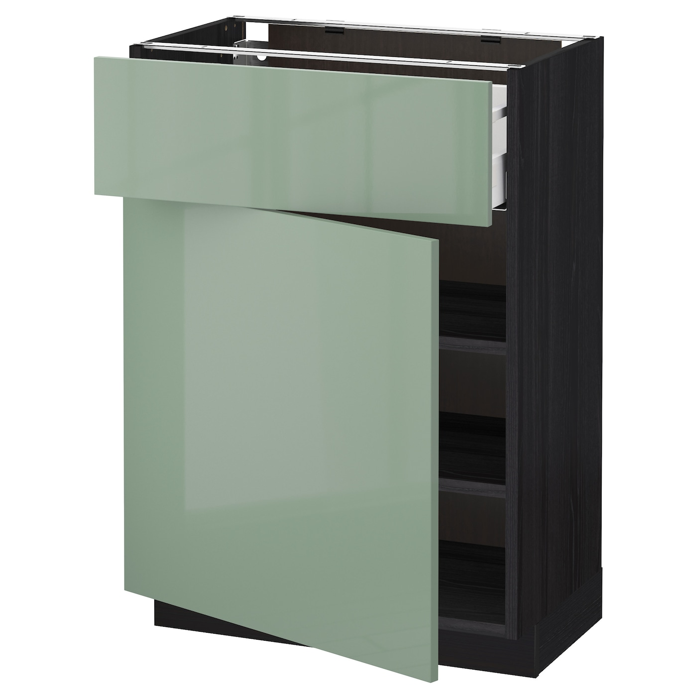 metod maximera base cabinet with drawer door black kallarp light green 60x37 cm ikea. Black Bedroom Furniture Sets. Home Design Ideas