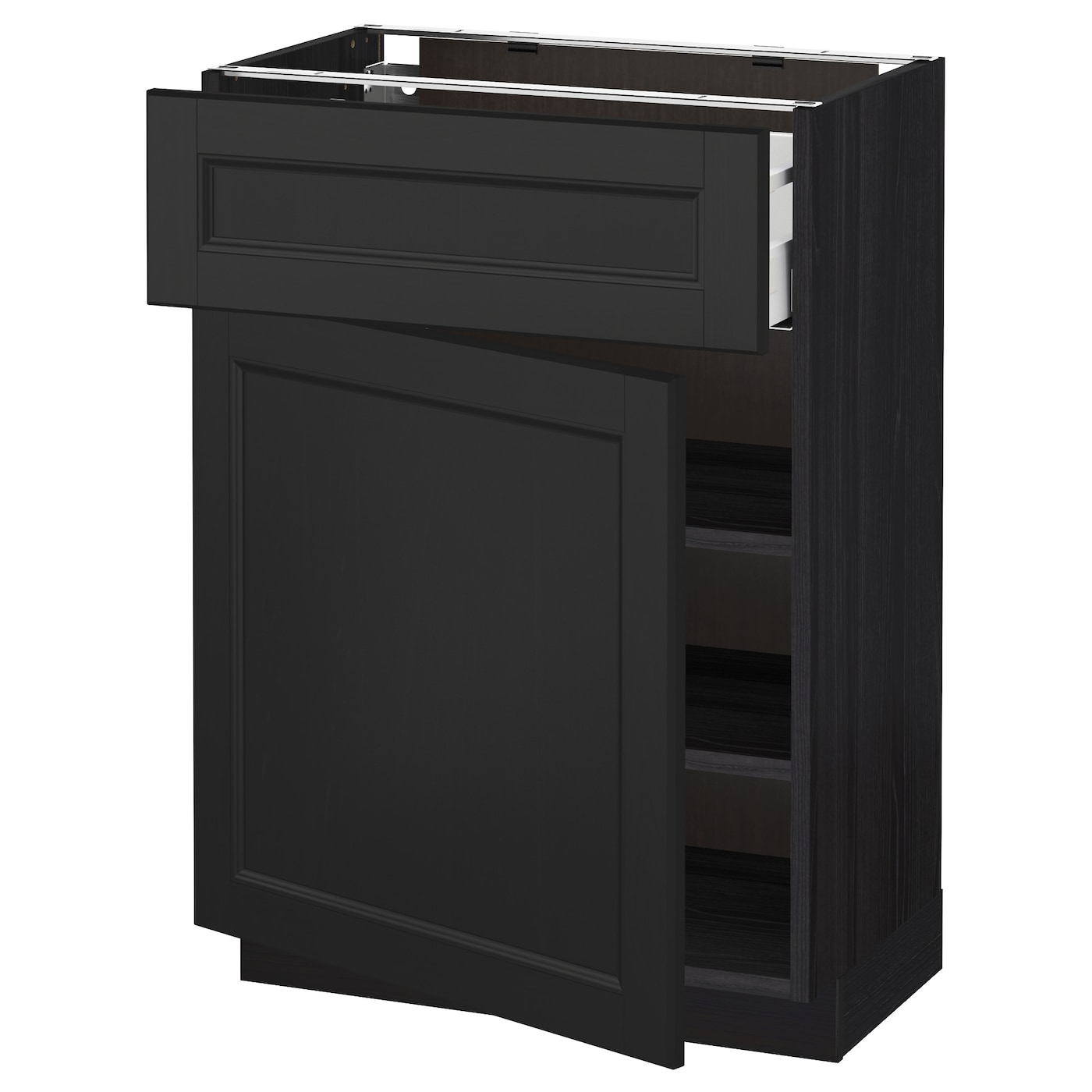 black base kitchen cabinets metod maximera base cabinet with drawer door black laxarby 12317