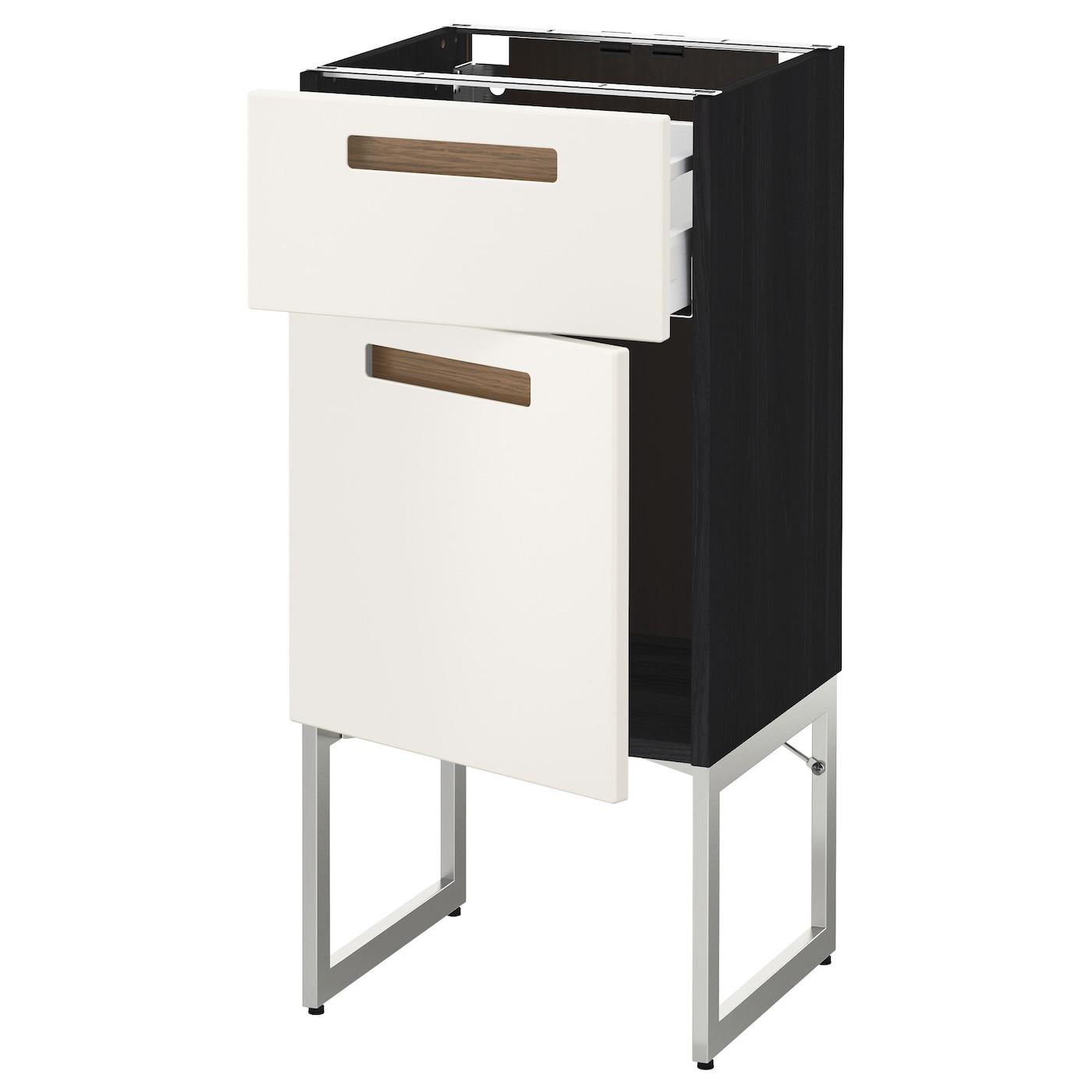 Metod maximera base cabinet with drawer door black m rsta for Black kitchen base cabinets
