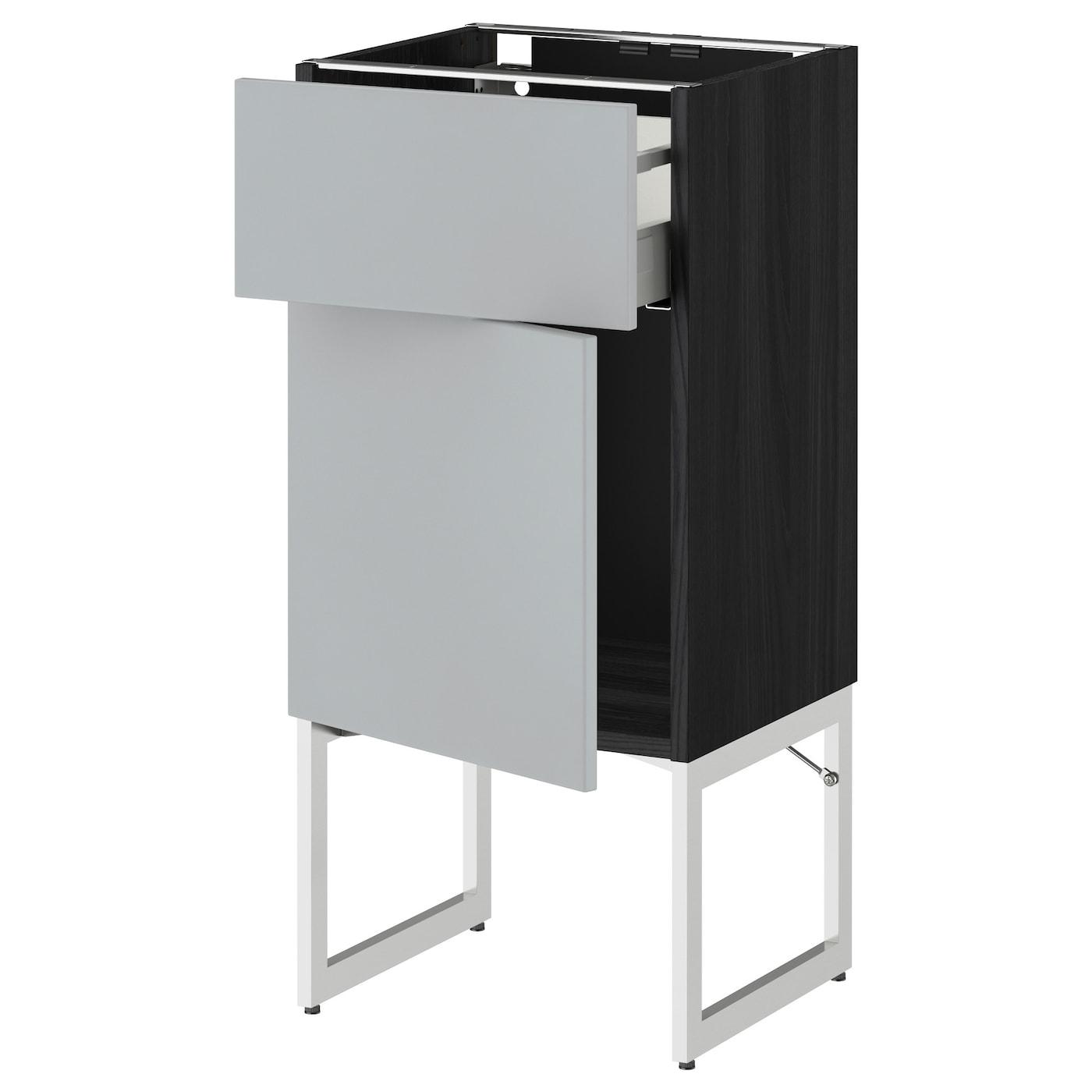 metod maximera base cabinet with drawer door black veddinge grey 40x37x60 cm ikea. Black Bedroom Furniture Sets. Home Design Ideas