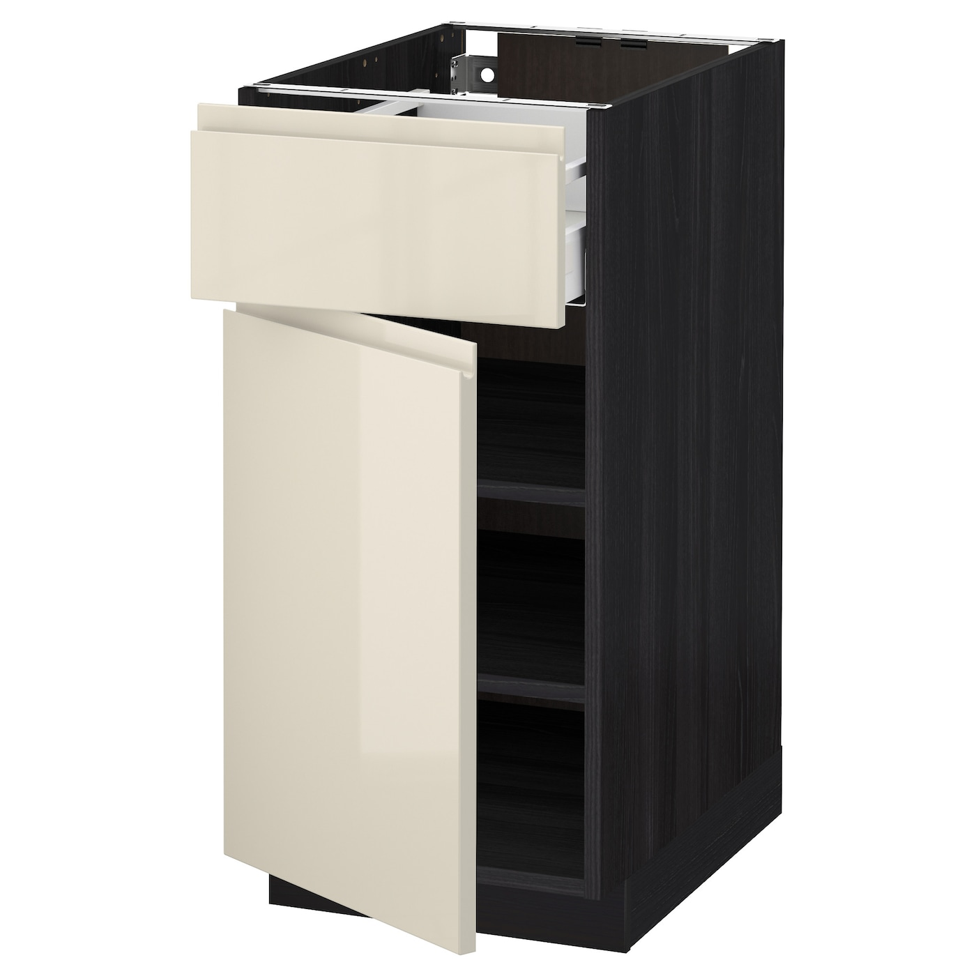 Metod Maximera Base Cabinet With Drawer Door Black Voxtorp High Gloss Light Beige 40x60 Cm Ikea