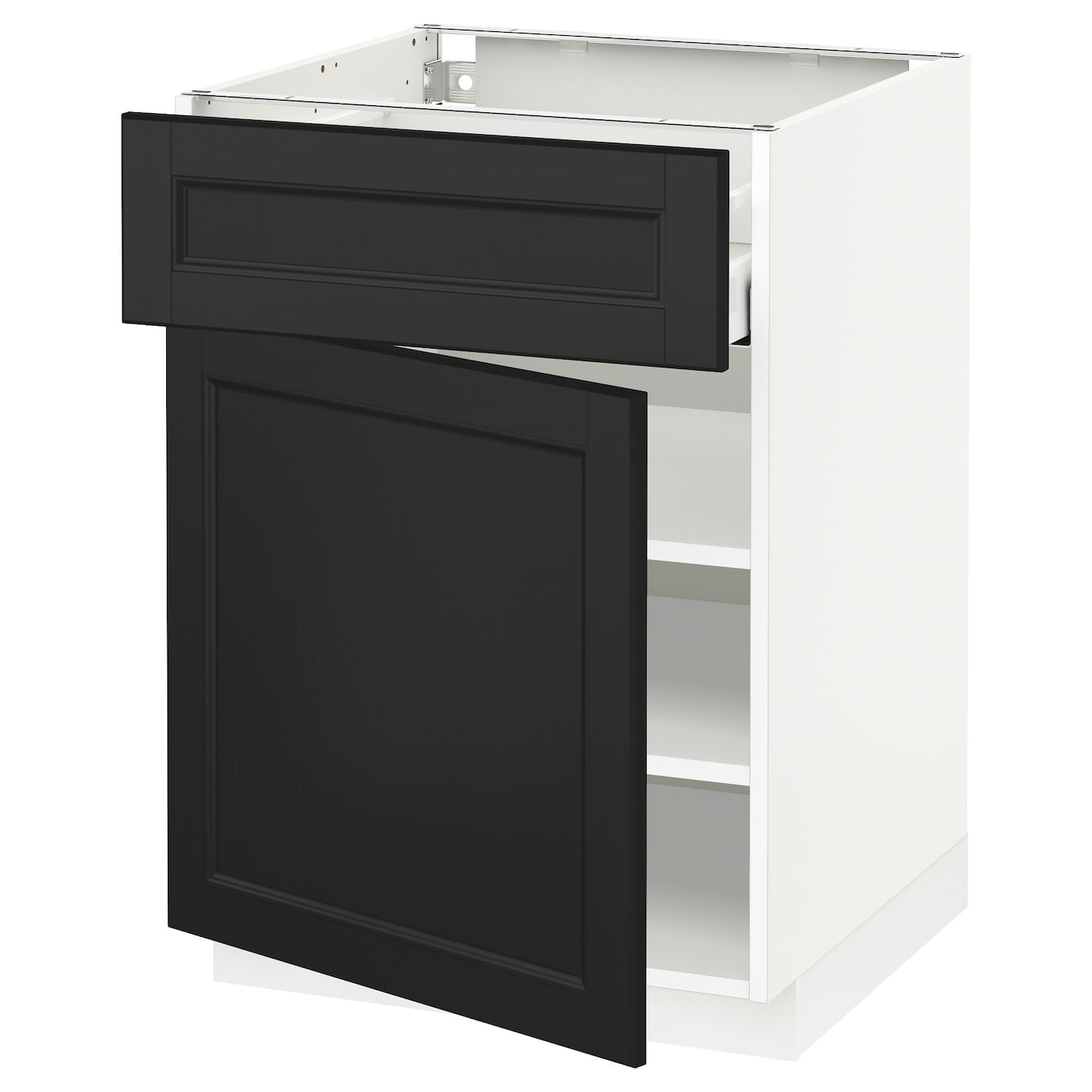 Metod maximera base cabinet with drawer door white laxarby for White cabinets with black doors