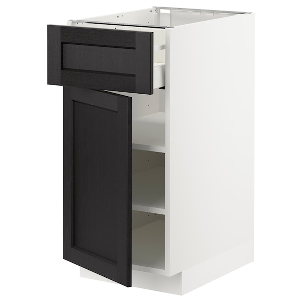 METOD / MAXIMERA Base cabinet with drawer/door, white/Lerhyttan black stained, 40x60 cm
