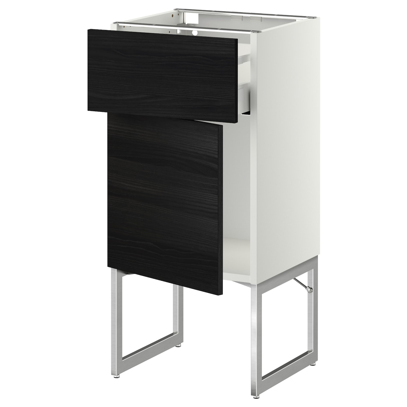 Metod maximera base cabinet with drawer door white for Black kitchen base cabinets