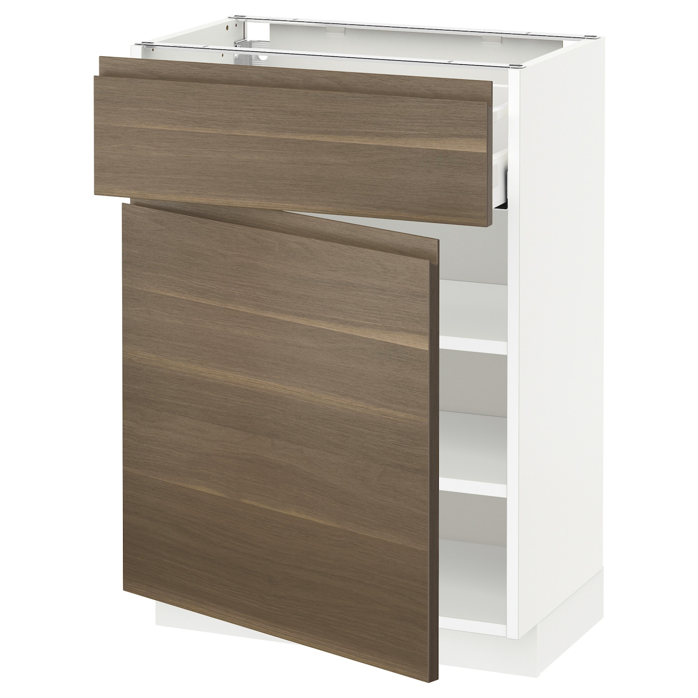 Walnut Mixed Material Ikea Kitchen: METOD/MAXIMERA Base Cabinet With Drawer/door White/voxtorp