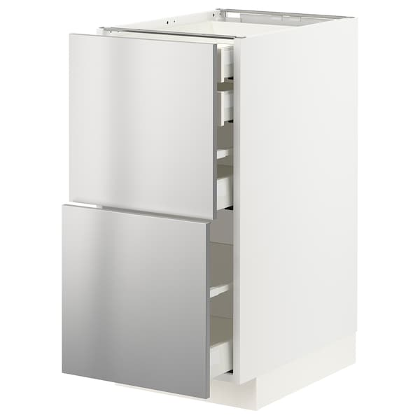 METOD / MAXIMERA Base cb 2 frnts/2 low/1 md/1 hi drw, white/Vårsta stainless steel, 40x60 cm
