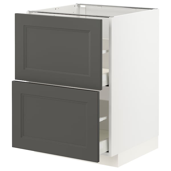 METOD / MAXIMERA Base cb 2 fronts/2 high drawers, white/Axstad dark grey, 60x60 cm