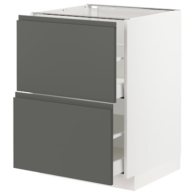 METOD / MAXIMERA Base cb 2 fronts/2 high drawers, white/Voxtorp dark grey, 60x60 cm