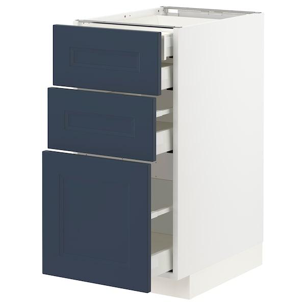 METOD / MAXIMERA Base cb 3 frnts/2 low/1 md/1 hi drw, white Axstad/matt blue, 40x60 cm
