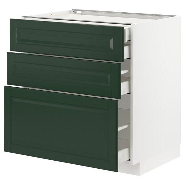 METOD / MAXIMERA Base cb 3 frnts/2 low/1 md/1 hi drw, white/Bodbyn dark green, 80x60 cm