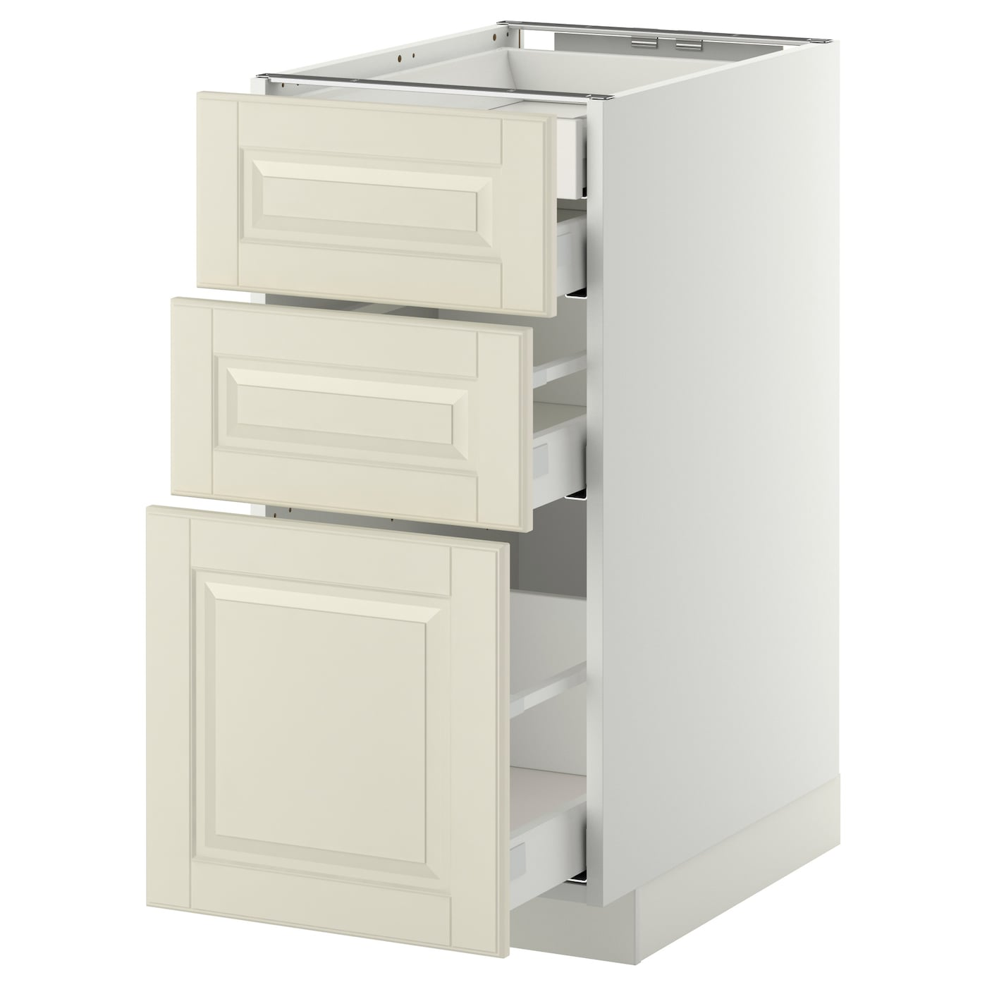 IKEA METOD/MAXIMERA base cb 3 frnts/2 low/1 md/1 hi drw Smooth-running drawers with stop.