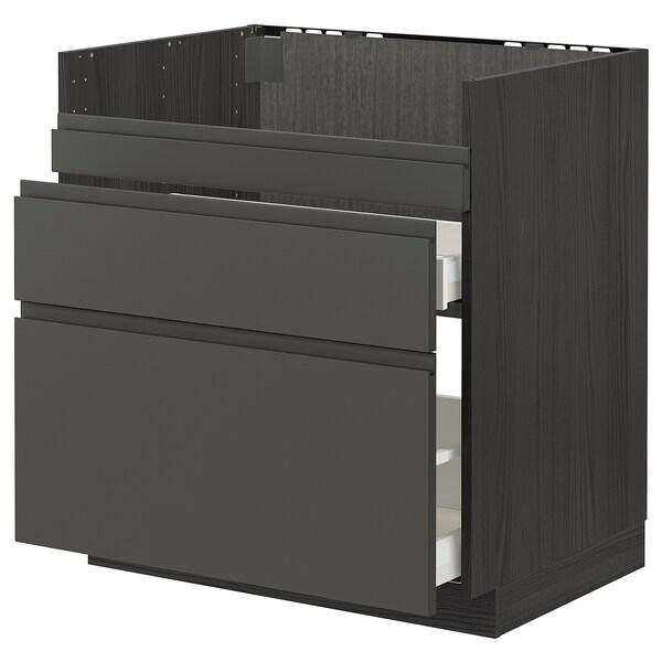 METOD / MAXIMERA Base cb f HAVSEN snk/3 frnts/2 drws, black/Voxtorp dark grey, 80x60 cm