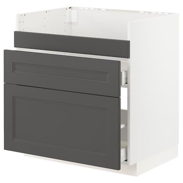 METOD / MAXIMERA Base cb f HAVSEN snk/3 frnts/2 drws, white/Axstad dark grey, 80x60 cm