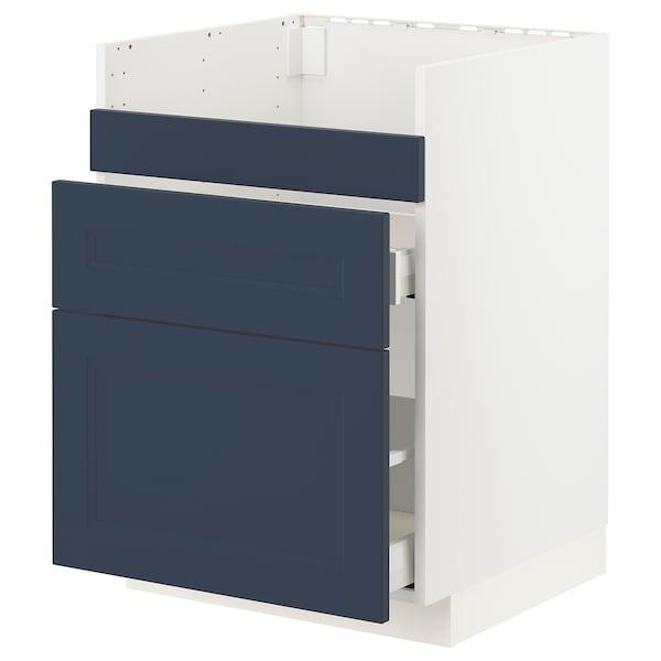 METOD / MAXIMERA Base cb f HAVSEN snk/3 frnts/2 drws, white Axstad/matt blue, 60x60 cm