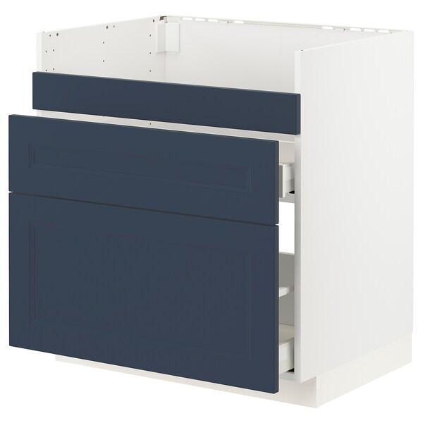 METOD / MAXIMERA Base cb f HAVSEN snk/3 frnts/2 drws, white Axstad/matt blue, 80x60 cm