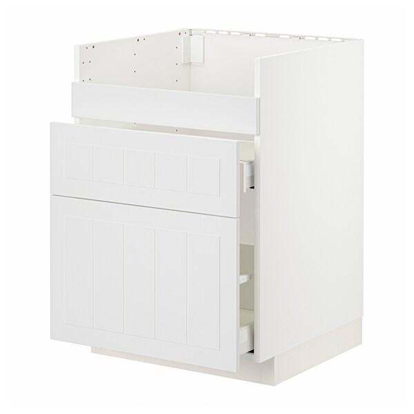 METOD / MAXIMERA Base cb f HAVSEN snk/3 frnts/2 drws, white/Stensund white, 60x60 cm