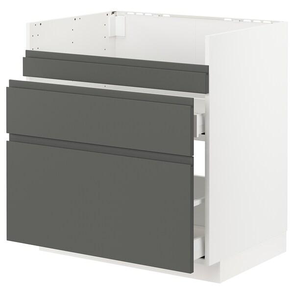 METOD / MAXIMERA Base cb f HAVSEN snk/3 frnts/2 drws, white/Voxtorp dark grey, 80x60 cm