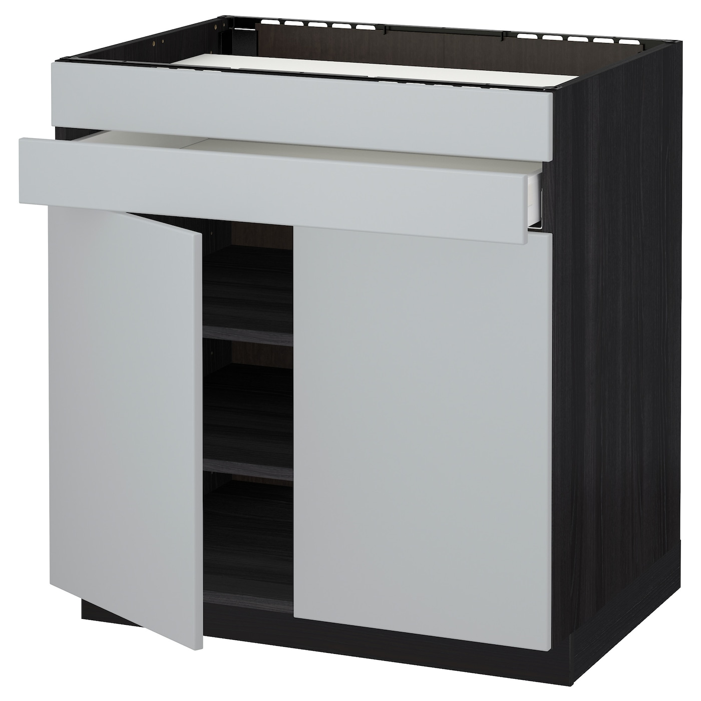 IKEA METOD/MAXIMERA base cb f hob/2 drs/2 fronts/1 drwr Smooth-running drawer with drawer stop.
