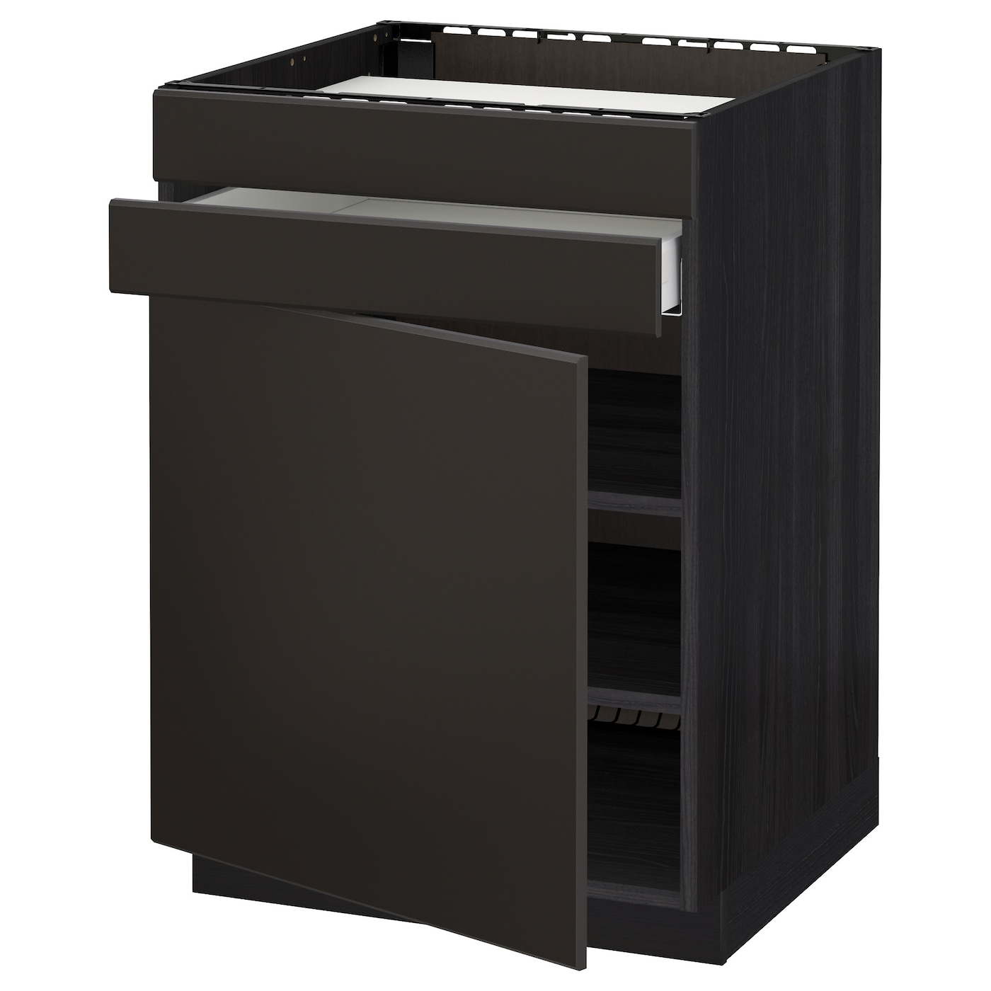 IKEA METOD/MAXIMERA base cb f hob/door/2 fronts/1 drwr Smooth-running drawer with drawer stop.