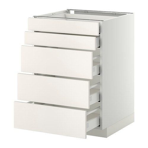 METOD / MAXIMERA Base cb 5 frnts/2 low/3 medium drwr IKEA The drawers close slowly, quietly and softly thanks to the built-in dampers.