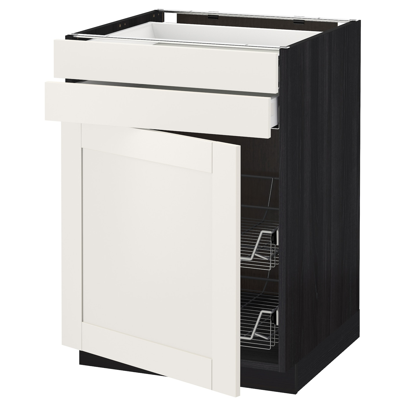 IKEA METOD/MAXIMERA base cb w door/2 drwrs/wire bskts Smooth-running drawer with drawer stop.