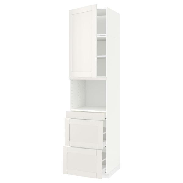 METOD / MAXIMERA Hi cab f micro combi w door/3 drwrs, white/Sävedal white, 60x60x240 cm