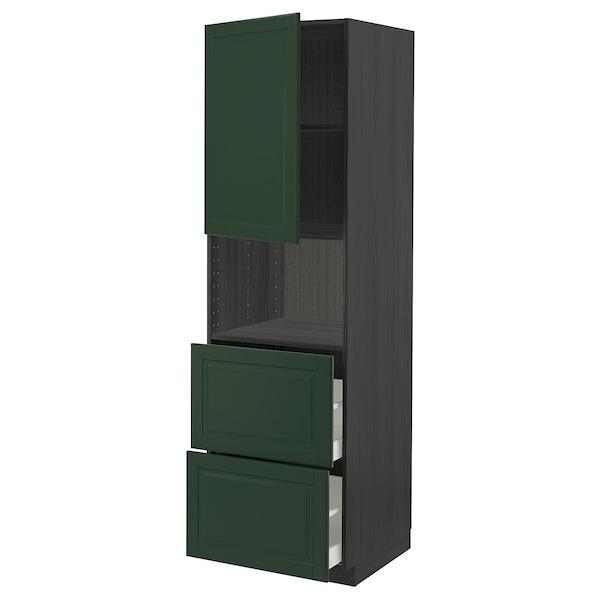 METOD / MAXIMERA Hi cab f micro w door/2 drawers, black/Bodbyn dark green, 60x60x200 cm