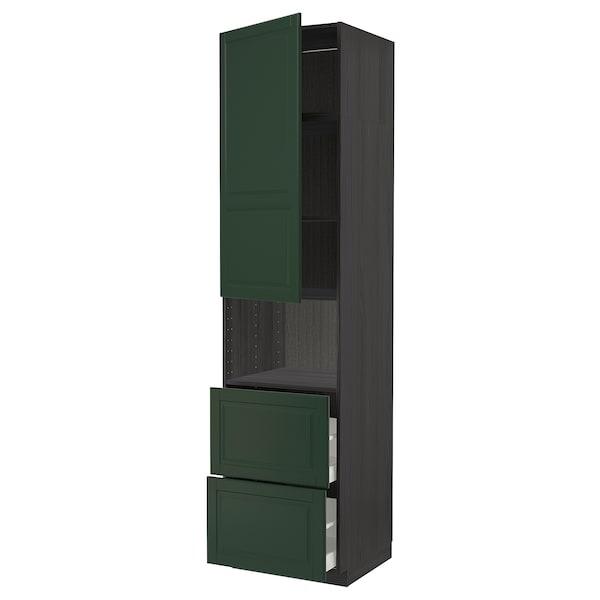 METOD / MAXIMERA Hi cab f micro w door/2 drawers, black/Bodbyn dark green, 60x60x240 cm