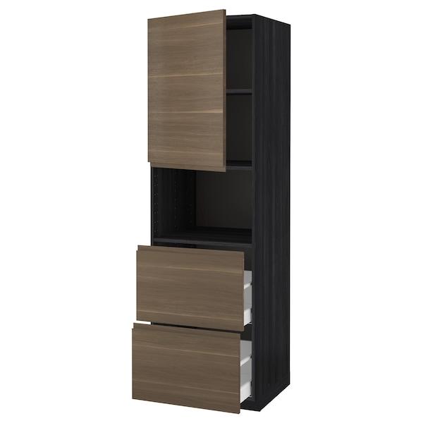 METOD / MAXIMERA Hi cab f micro w door/2 drawers, black/Voxtorp walnut effect, 60x60x200 cm