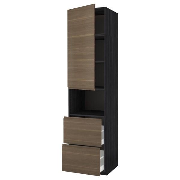 METOD / MAXIMERA Hi cab f micro w door/2 drawers, black/Voxtorp walnut effect, 60x60x240 cm