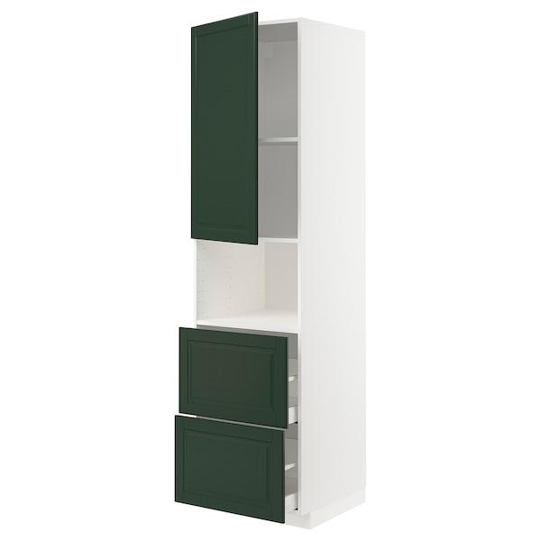 METOD / MAXIMERA Hi cab f micro w door/2 drawers, white/Bodbyn dark green, 60x60x220 cm