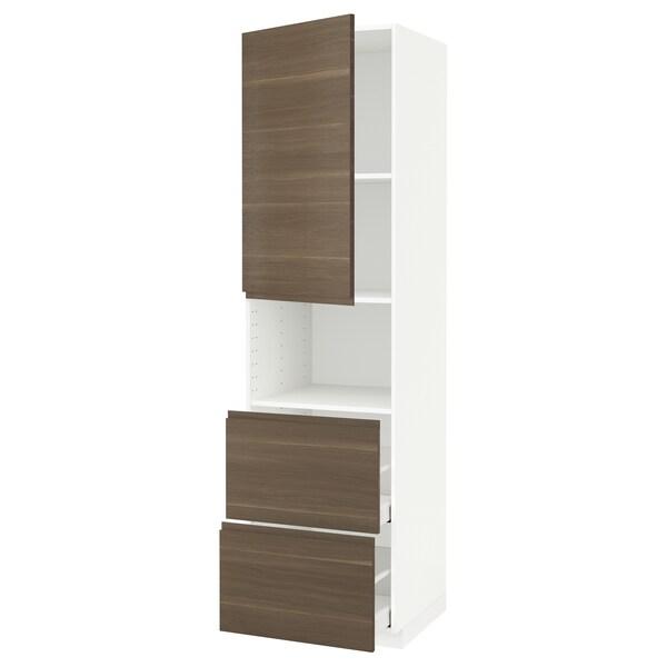 METOD / MAXIMERA Hi cab f micro w door/2 drawers, white/Voxtorp walnut effect, 60x60x220 cm