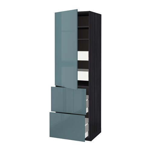 IKEA METOD/MAXIMERA hi cab w shlvs/4 drawers/dr/2 frnts Sturdy frame construction, 18 mm thick.