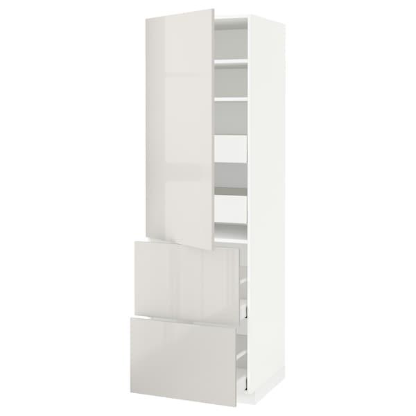 METOD / MAXIMERA Hi cab w shlvs/4 drawers/dr/2 frnts, white/Ringhult light grey, 60x60x200 cm