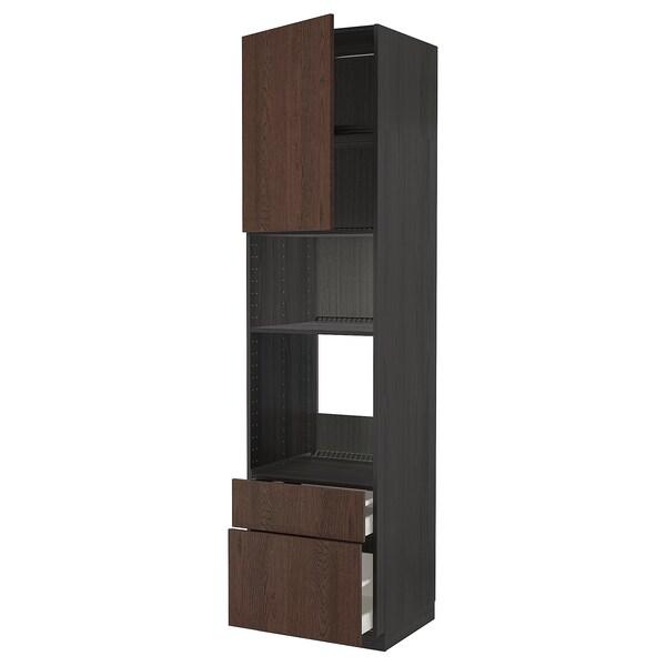 METOD / MAXIMERA High cab f oven/micro w dr/2 drwrs, black/Sinarp brown, 60x60x240 cm