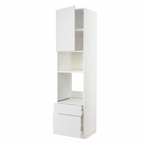 METOD / MAXIMERA High cab f oven/micro w dr/2 drwrs, white/Stensund white, 60x60x240 cm