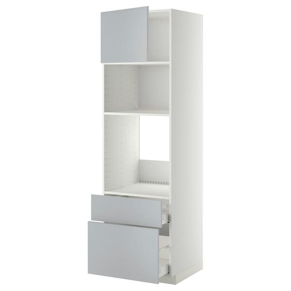 METOD / MAXIMERA High cab f oven/micro w dr/2 drwrs, white/Veddinge grey, 60x60x200 cm