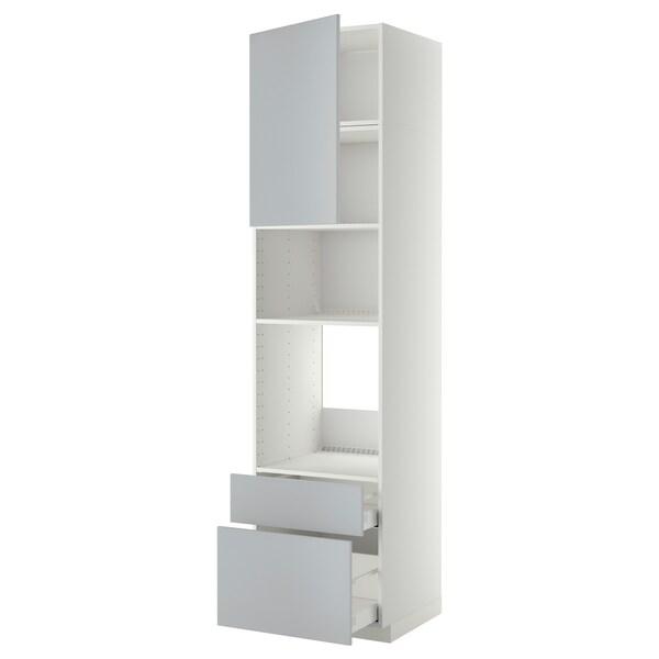 METOD / MAXIMERA High cab f oven/micro w dr/2 drwrs, white/Veddinge grey, 60x60x240 cm
