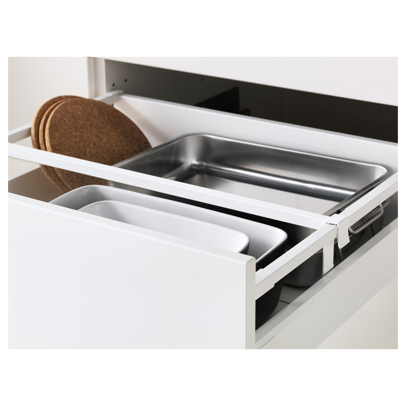 IKEA METOD/MAXIMERA high cab f oven/micro w dr/3 drwrs Sturdy frame construction, 18 mm thick.