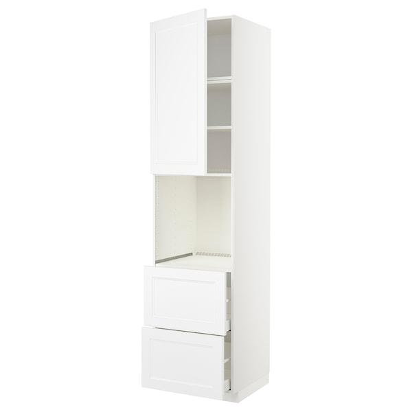 METOD / MAXIMERA High cabinet f oven+door/2 drawers, white/Axstad matt white, 60x60x240 cm