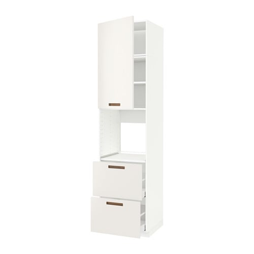 Metod maximera high cabinet f oven door 2 drawers white for Sideboard 3 00 m