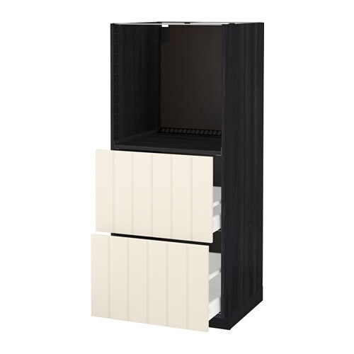 IKEA METOD/MAXIMERA high cabinet w 2 drawers for oven Sturdy frame construction, 18 mm thick.