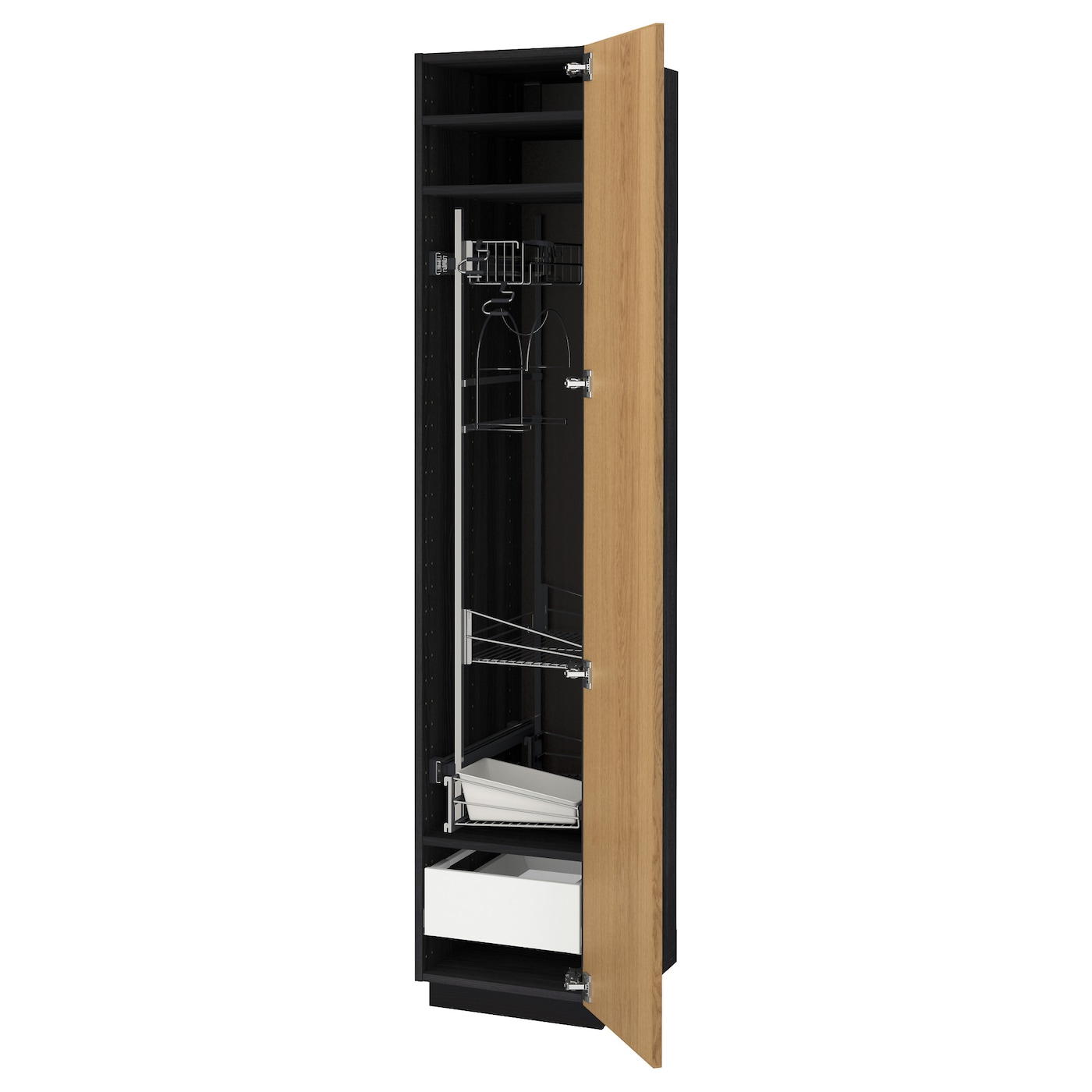 Cleaning Kitchen Cabinets: METOD/MAXIMERA High Cabinet With Cleaning Interior Black