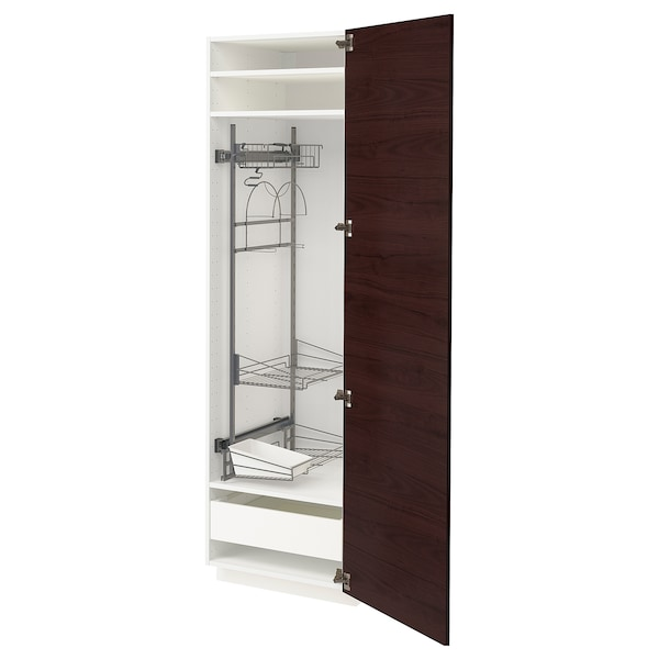METOD / MAXIMERA High cabinet with cleaning interior, white Askersund/dark brown ash effect, 60x60x200 cm