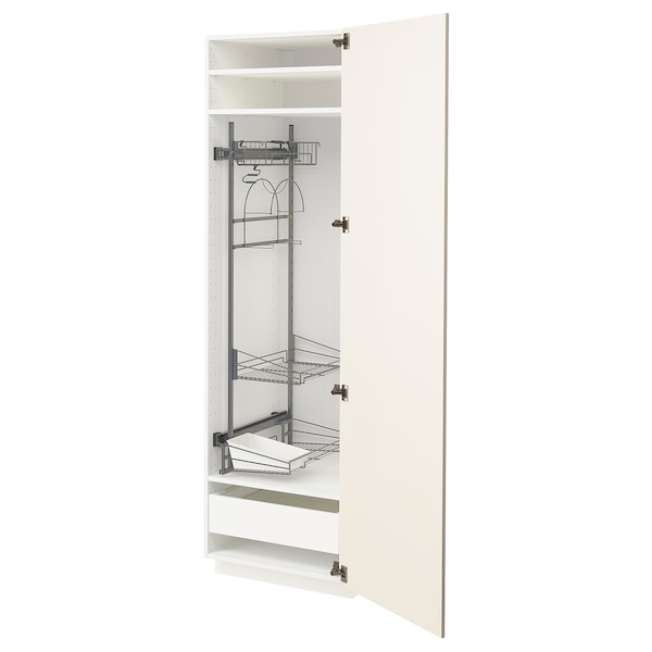 METOD / MAXIMERA High cabinet with cleaning interior, white/Bodbyn off-white, 60x60x200 cm
