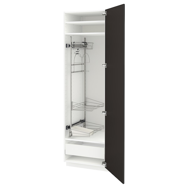 METOD / MAXIMERA High cabinet with cleaning interior, white/Kungsbacka anthracite, 60x60x200 cm