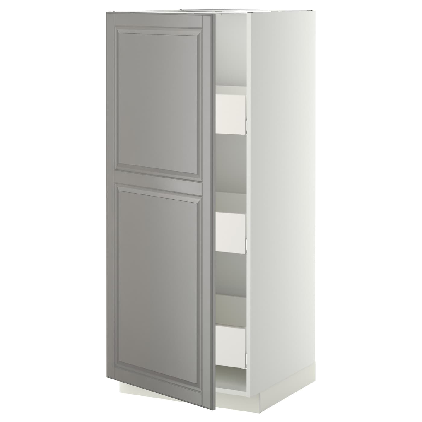 metod maximera high cabinet with drawers white bodbyn grey 60 x 60 x 140 cm ikea. Black Bedroom Furniture Sets. Home Design Ideas