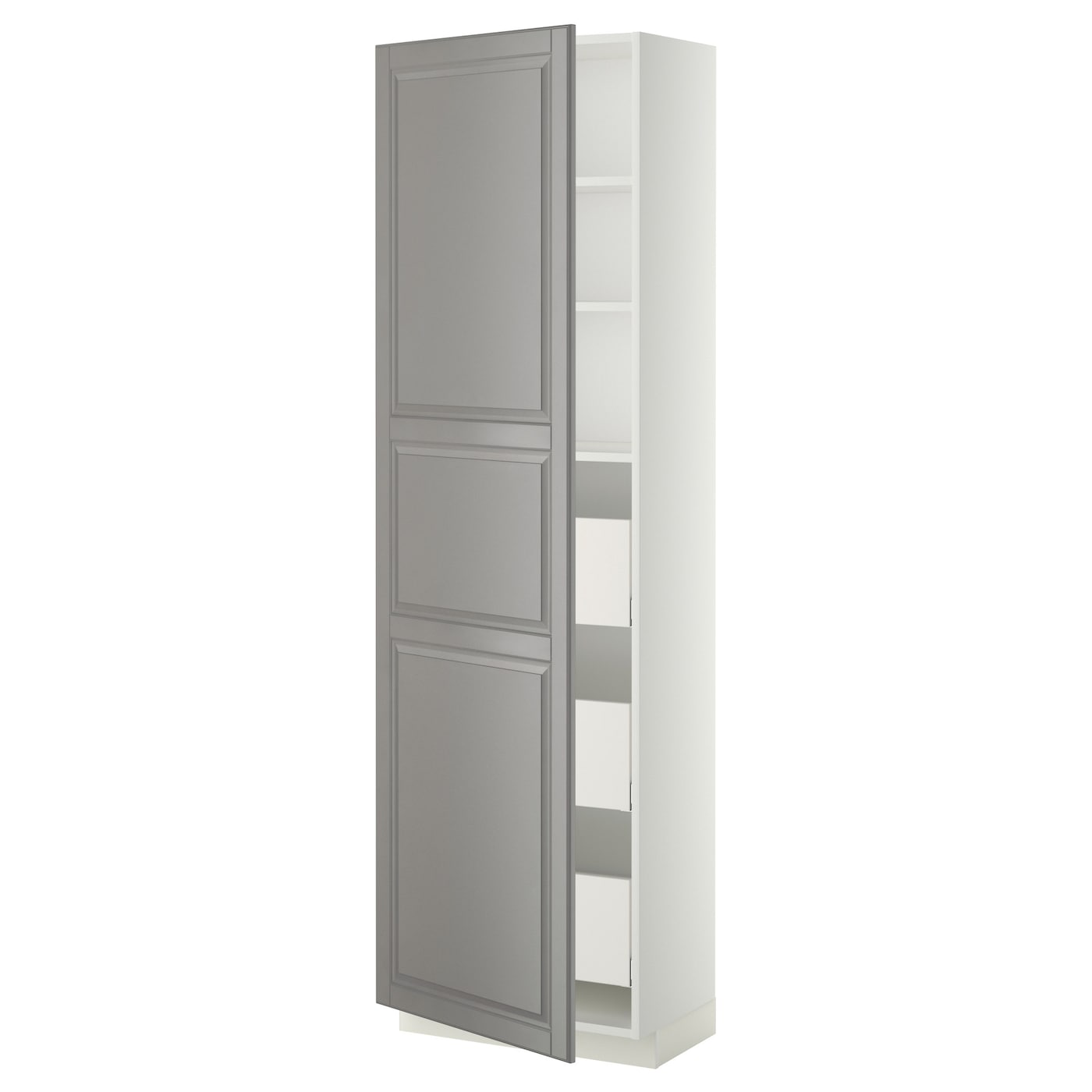 metod maximera high cabinet with drawers white bodbyn grey 60x37x200 cm ikea. Black Bedroom Furniture Sets. Home Design Ideas