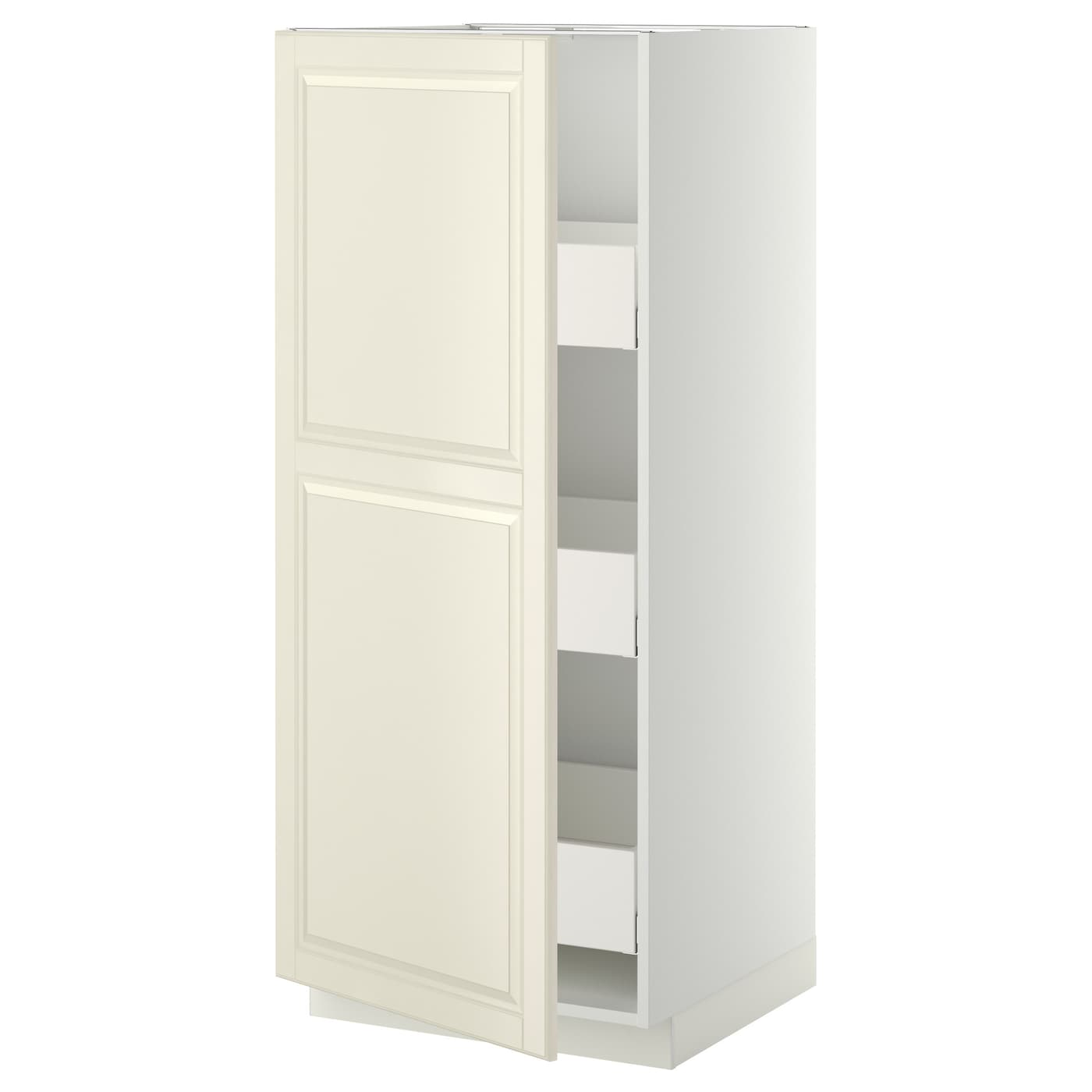 Metod Maximera High Cabinet With Drawers White Bodbyn Off White 60x60x140 Cm Ikea