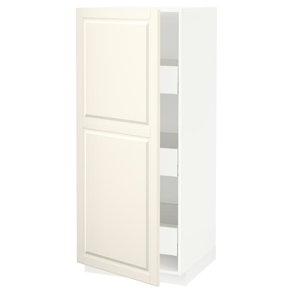 METOD / MAXIMERA High cabinet with drawers, white/Bodbyn off-white, 60x60x140 cm